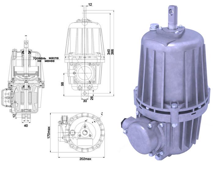 Гидротолкатель ТЭ-30 Спецмаш-Украина - габаритно-присоединительные размеры