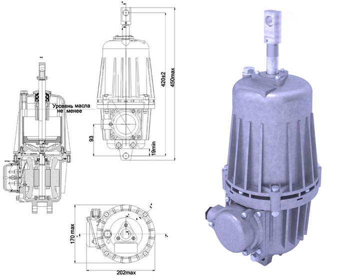 Гидротолкатель ТЭ-50 Спецмаш-Украина - габаритно-присоединительные размеры