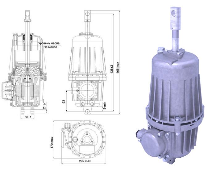 Гидротолкатель ТЭ-80 Спецмаш-Украина - габаритно-присоединительные размеры