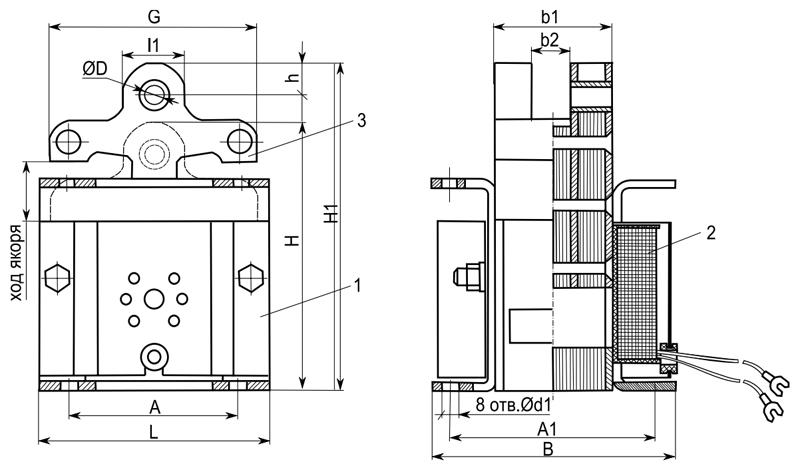Габаритные и присоединительные размеры электромагнитов ЭМИС 1100, ЭМИС 3100, ЭМИС 4100, ЭМИС 5100