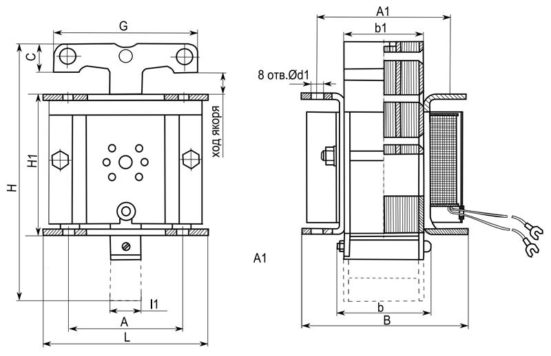 Габаритные и присоединительные размеры электромагнитов ЭМИС 1200, ЭМИС 3200, ЭМИС 4200, ЭМИС 5200