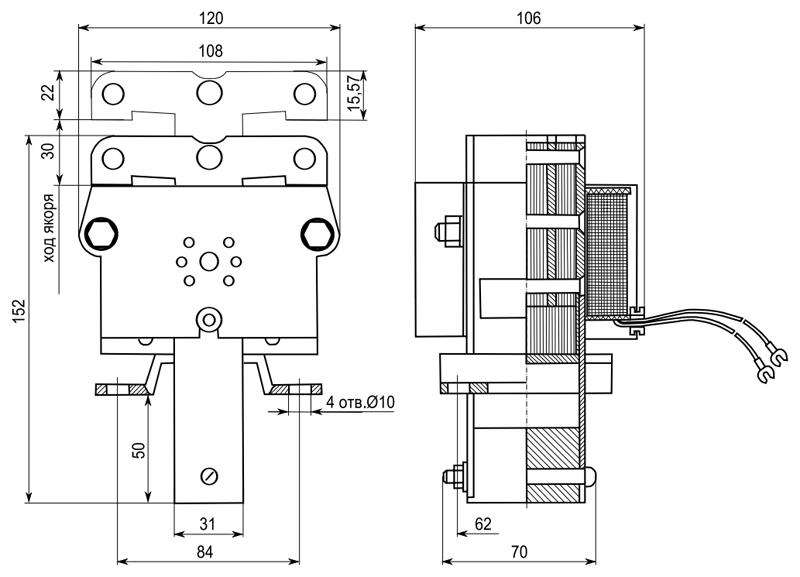Габаритные и присоединительные размеры электромагнитов ЭМИС 6200