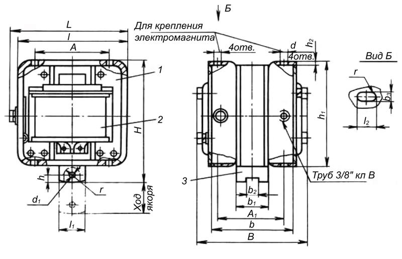 Электромагнит МИС 1, 2, 3, 4 габарита тянущего исполнения