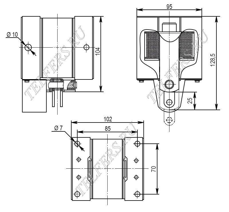 Габаритные и присоединительные размеры электромагнитов ИЖМВ