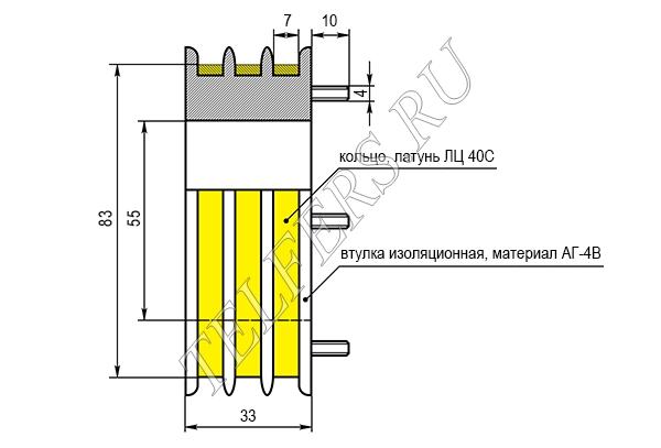 Коллектор кольцевой (токосъемник) для электрической тали серии ТЭ-050 грузоподъемностью 0,5 тонн (завод Красный металлист)