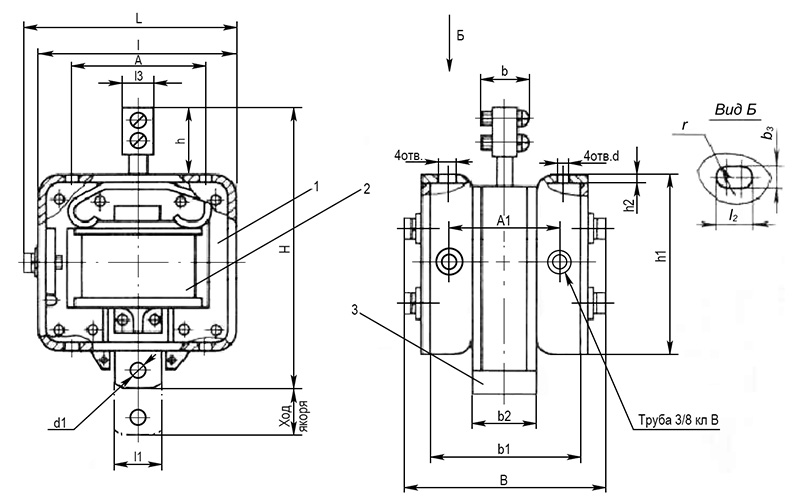 Электромагнит МИС 1, 2, 3 габарита толкающего исполнения