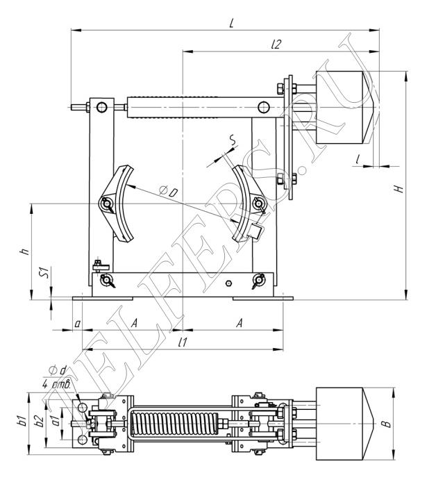 Габаритные и присоединительные размеры тормоза ТКП