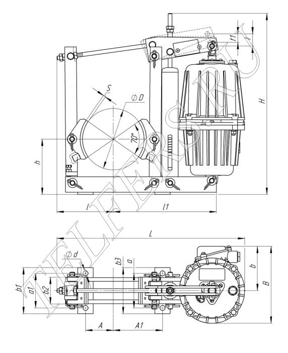 Габаритные и присоединительные размеры тормоза ТКГ