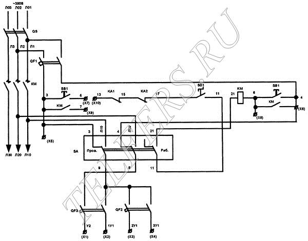 Схема электрическая принципиальная ПЗКБ-160У2, ПЗКБ-250У2 для магнитных и кулачковых контроллеров