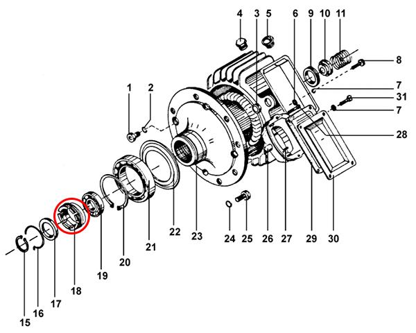 Гайка регулирующая передняя электродвигателя подъема