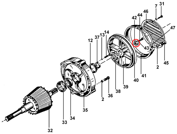 Гайка регулирующая задняя электродвигателя подъема