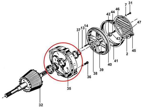Щит задний электродвигателя подъема