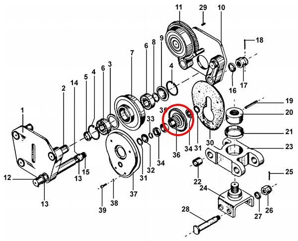 Блок-шестерня тележки передвижения тельфера