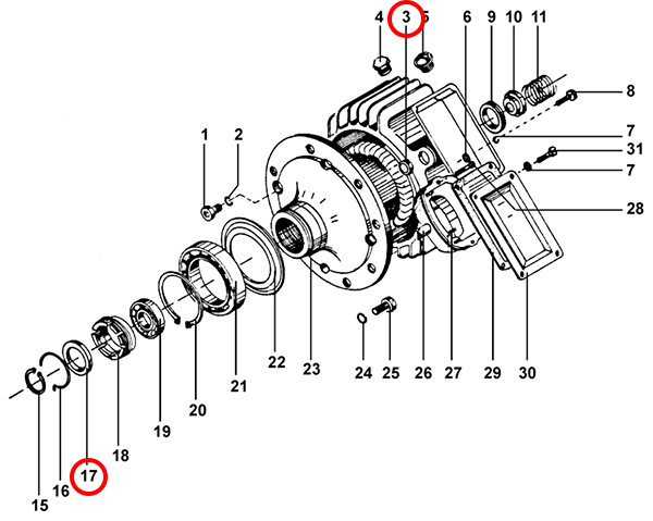 Уплотнения электродвигателя подъема
