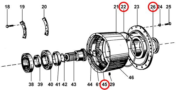 Уплотнения редуктора подъема