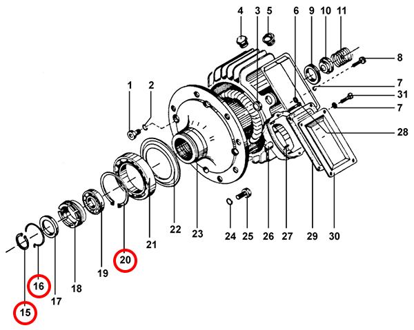 Стопорные кольца электродвигателя подъема тельфера