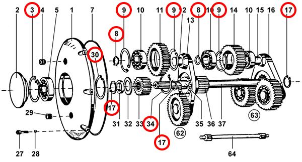 Стопорные кольца редуктора подъема