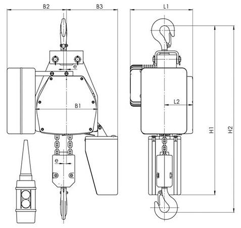 Габаритные и присоединительные размеры - цепной тельфер типа ВЕ - стационарный на крюке