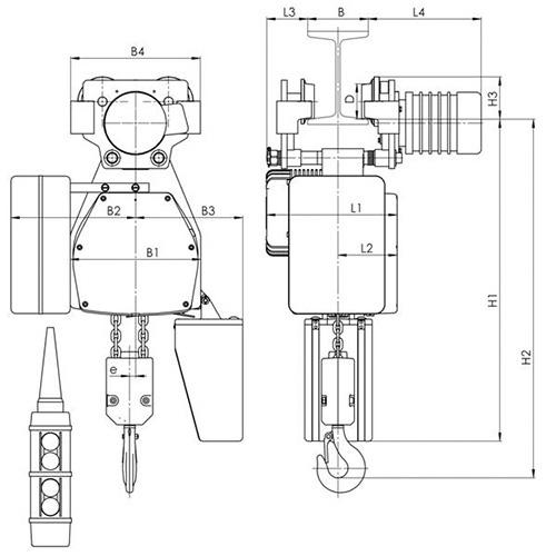 Габаритные и присоединительные размеры - цепной тельфер типа ВЕ - с электрической тележкой