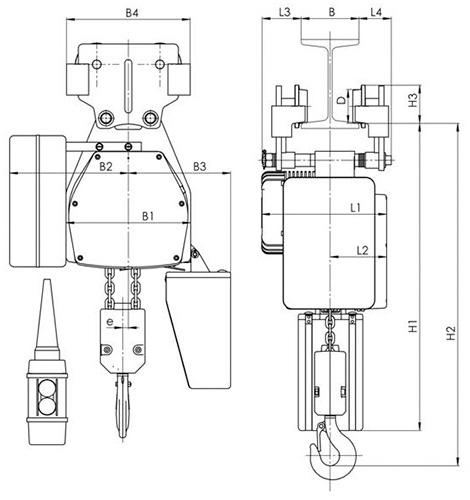 Габаритные и присоединительные размеры - цепной тельфер типа ВЕ - со свободной тележкой