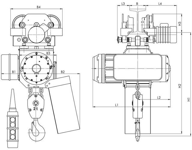 Габаритные и присоединительные размеры - цепной тельфер типа ВВ - с электрической тележкой