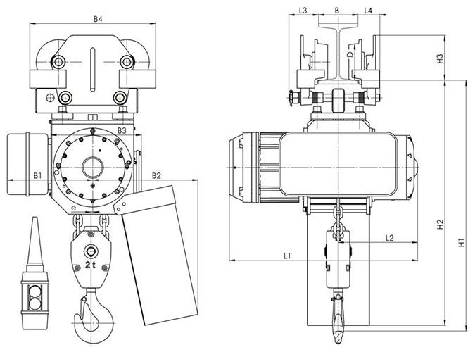 Габаритные и присоединительные размеры - цепной тельфер типа ВВ - со свободной тележкой