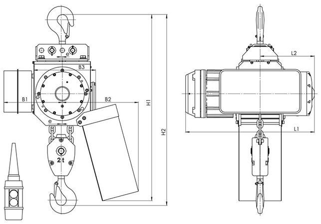 Габаритные и присоединительные размеры - цепной тельфер типа ВВ - стационарный на крюке