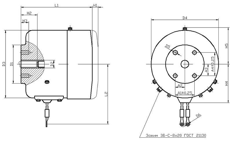 Габаритные и присоединительныеразмеры электромагнитов МП