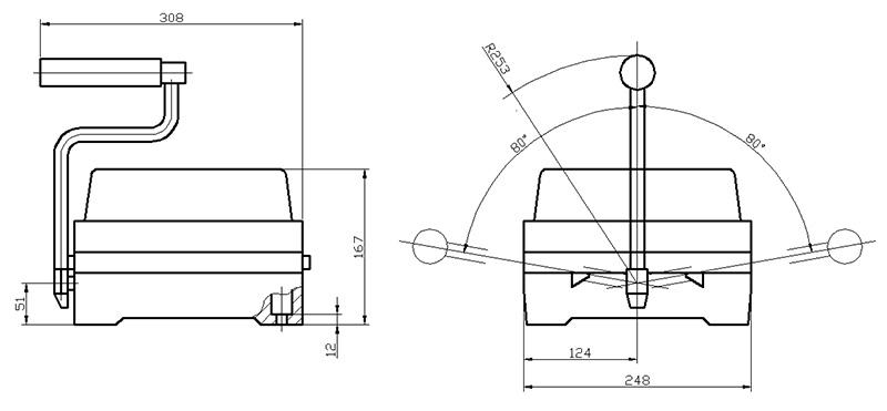 Габаритно-присоединительные размеры командоконтроллеров ККП1200