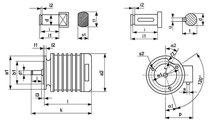 Габаритно-присоединительные размеры электродвигателей серии КК