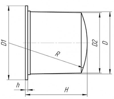 Буфер БР - габаритно-присоединительные размеры