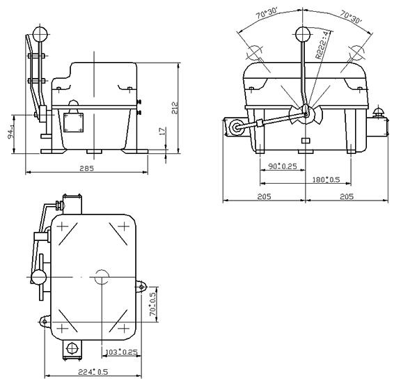 Габаритно-присоединительные размеры командоконтроллеров ЭК 8200