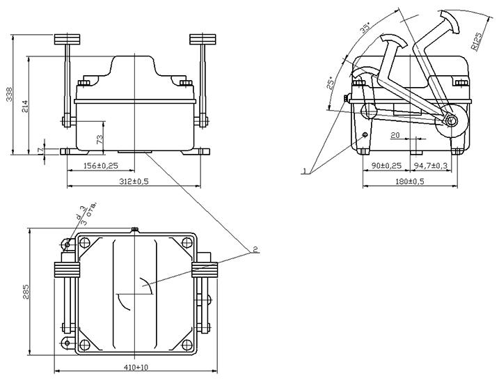 Габаритно-присоединительные размеры командоконтроллеров ЭК 8250