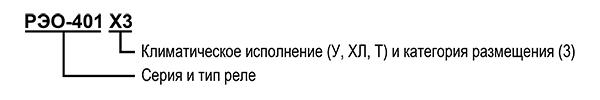 Структура условного обозначения реле РЭО-401