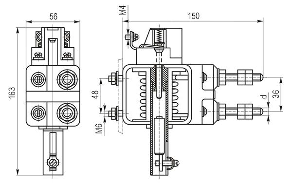 Габаритные и установочные размеры реле РЭО-401 2ТД (с блок-контактом)
