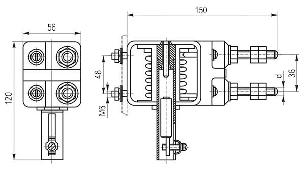 Габаритные и установочные размеры реле РЭО-401 6ТД (без блок-контакта)