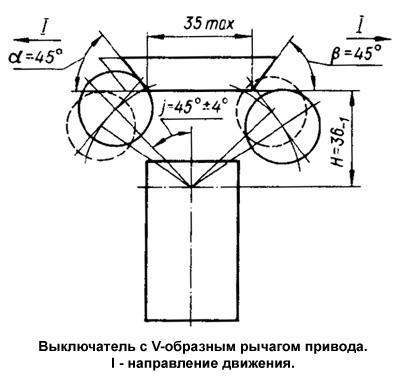 Выключатель ВП16 с V-образным рычагом привода