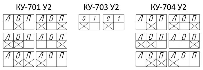 Диаграмма замыкания контактов выключателей КУ700