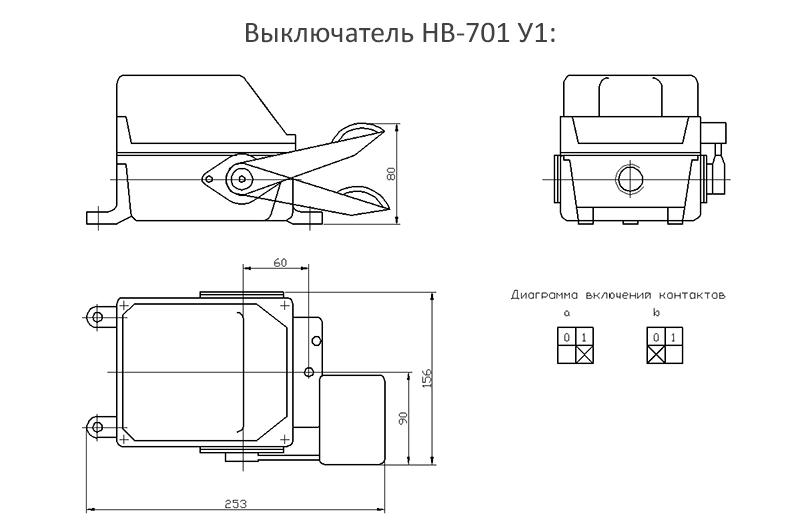 Габаритные и установочные размеры выключателя НВ-701 У1