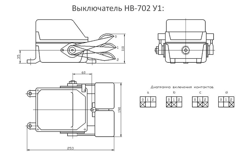 Габаритные и установочные размеры выключателя НВ-702 У1