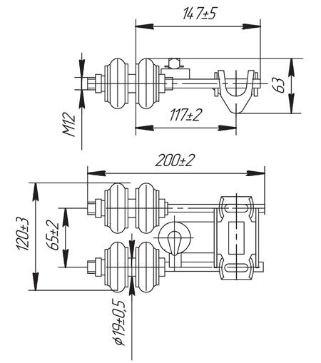 Габаритные и присоединительные размеры токоприемников ТК-12Б, ТК-12В