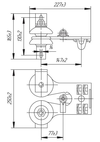 Габаритные и присоединительные размеры токоприемников ТКН-12Б, ТКН-12В